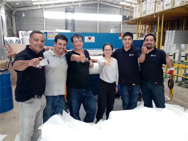 Honggang cutting machine in Chile, our staff service all over the world